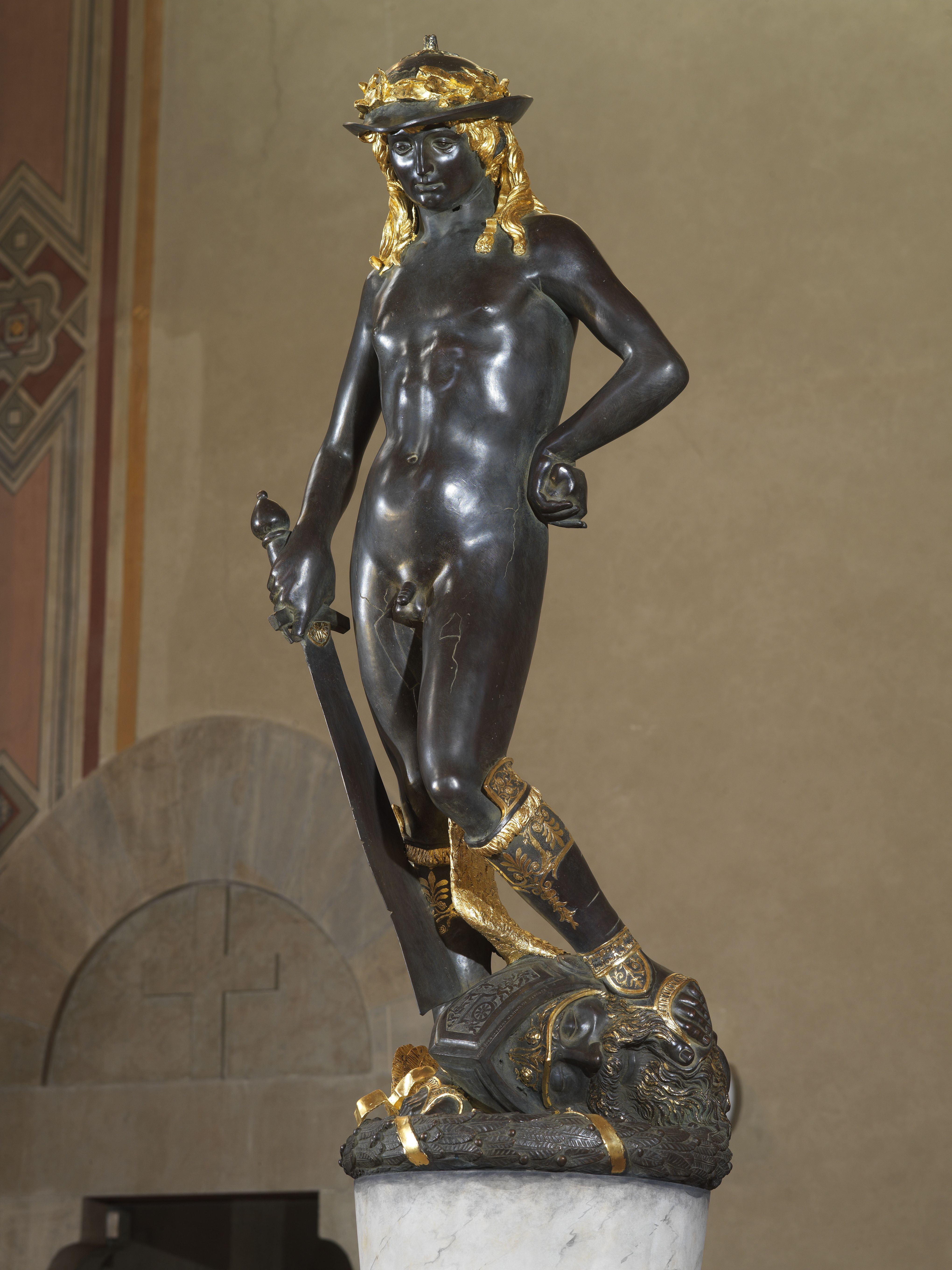 an analysis of the david sculpture by donatello This famous work of art was the artwork is much different from the previous statues made by other famous artists such as verrocchio and donatello david by.